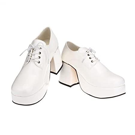 55793e5e19c Fancy Dress Mens 70s 80s Party Platform White Silver Gold Shoes SoWest  Christmas presents