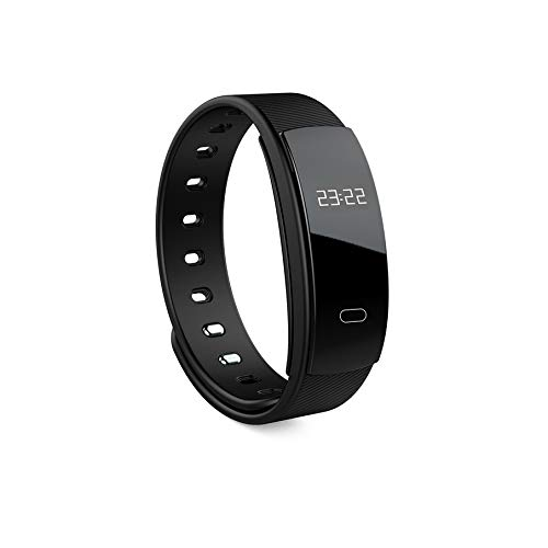 KNOSSOS QS80 Waterproof Smart Wristband Heart Rate Monitor Pedometer Fitness Tracker - Black