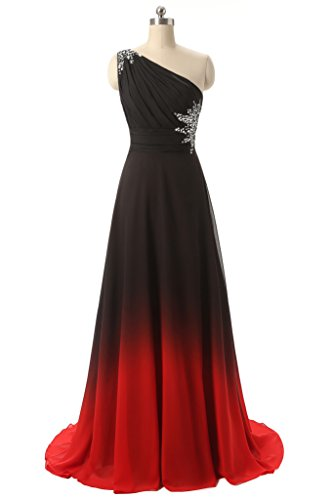 Angela One Shoulder Ombre Long Evening Prom Dresses Chiffon Wedding Party Gowns Black Red 8