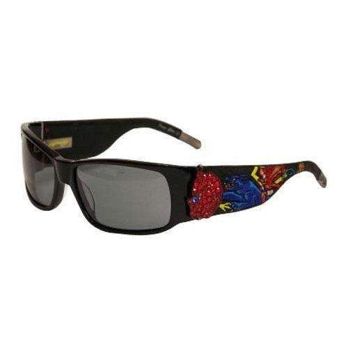 Ed Hardy Devil On Panther Flat Sunglasses EHS-036 Black Grey (Ed Hardy Black Sunglasses)