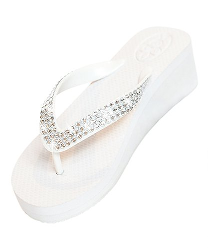 1bf1cea6b Glitz Flips 2 quot  White Wedge Flip Flops with Clear Swarovski Crystals ...