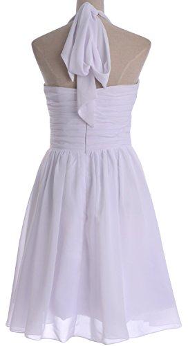 MACloth Women Short Chiffon Bridesmaid Dress Halter Wedding Party Formal Gown Blanco