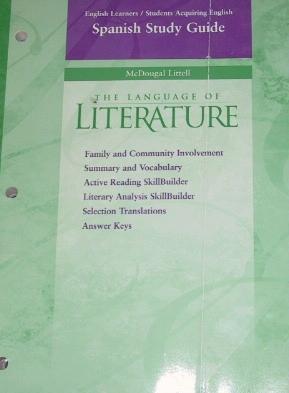 McDougal Littell Language of Literature: English Learners SAE: Spanish Study Guide Grade 8 (Spanish Edition) PDF