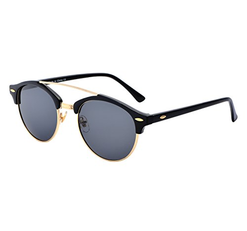 YANQIUYU Classic Retro 50's Semi Rimless 3016 Round Polarized Clubmaster Sunglasses with Metal Rivets (Black/Gold Rimmed, - Clubmaster Gold Black Sunglasses And