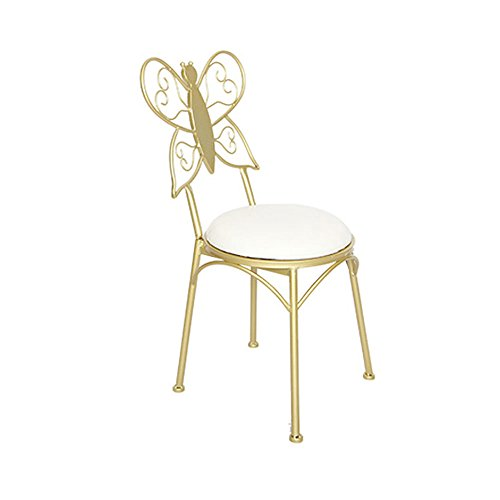 Iron Bow Tie Chair, Backrest Chair Dresser Makeup Chair Golden Chair Frame Single Dressing Chair Simple Dining Chair Bar Chair Home Girl Room Decoration Chair 32x30x80cm modern style ( Color : White ) -