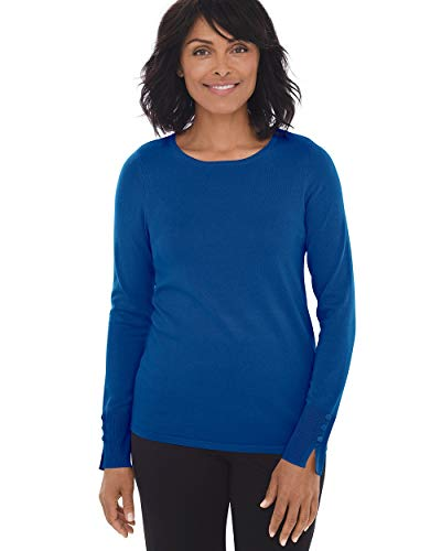 Chico's Women's Button-Sleeve Pullover Size 20/22 XXL (4) Blue