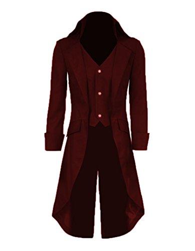 Very Last Shop Mens Gothic Tailcoat Jacket Black Steampunk Victorian Long Coat Halloween Costume (US Men-S, Burgundy) ()