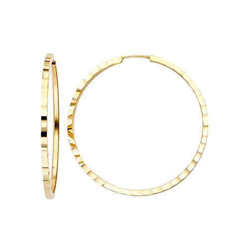 TGDJ 14K Yellow Gold 1.5mm Square Tube Hoop Earrings - (Diameter - 30 MM) by Top Gold & Diamond Jewelry