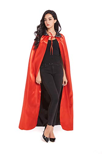 Crizcape Adult Devil Vampire Costume Cloak Medieval Black Red Reversible Halloween Cosplay Costume Cape