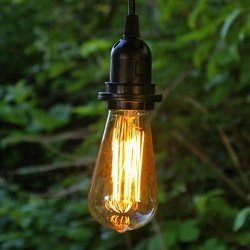 pendant light with antique bulb 10 foot black cord plug in edison