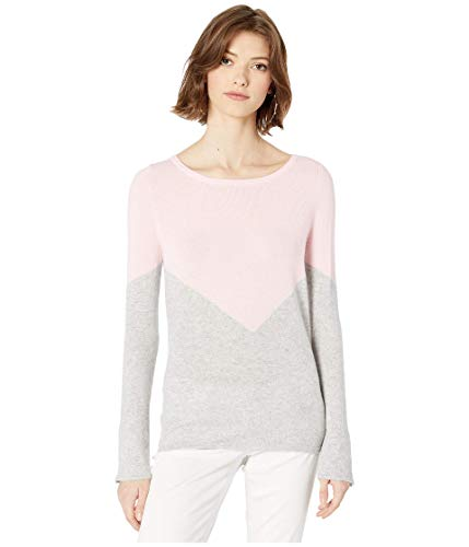 Lilly Pulitzer Brigitte Cashmere Sweater Heathered Foggy Grey Chevron Color Block MD