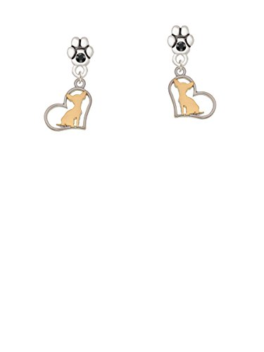 Two Tone Dangling Heart (Two Tone Chihuahua Silhouette Heart - Black Crystal Paw Earrings)