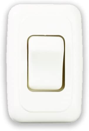Camper for RV 12-Volt White American Technology Components Single SPST On-Off Switch with Bezel Trailer