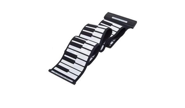 Teclado de piano electrónico portátil, 88 teclas, MIDI estándar, de silicona suave, rollo flexible, para niños y adultos