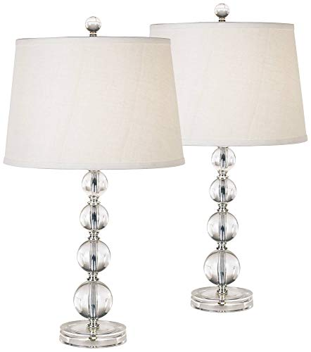 Herminie Modern Accent Table Lamps Set of 2 Clear Stacked Ball Off White Drum Shade for Living Room Family Bedroom Bedside - 360 Lighting