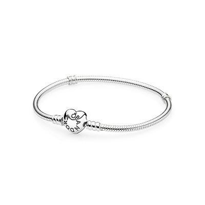 - Pandora Moments Silver Charm Bracelet With Heart Clasp 590719-23