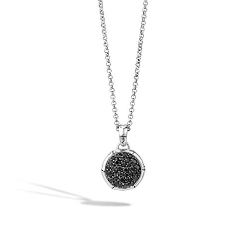 John Hardy Women's Bamboo Silver Lava Small Round Pendant- on Chain Necklace with Black Sapphire, Size 16-18 Adjustable