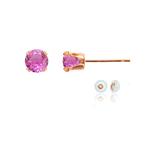 Genuine 10K Solid Rose Gold 5mm Round Created Pink Sapphire Birthstone Stud Earrings (Rose Gold And Pink Sapphire Ring)