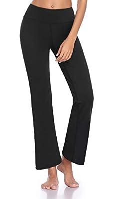 Guguyeah Women's Workout Bootleg Yoga Pants Bootcut Leggings Active Wear with Hidden Pockets Black