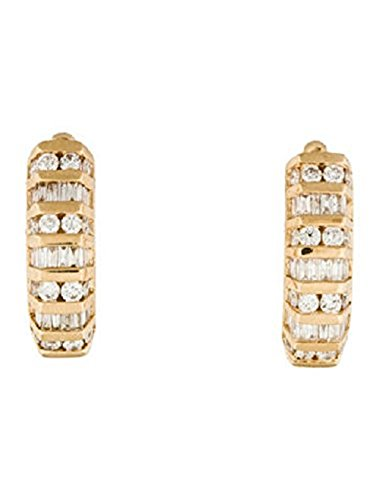 14k Baguette and Round Diamond Huggie Earrings (G-H, SI1-SI2)