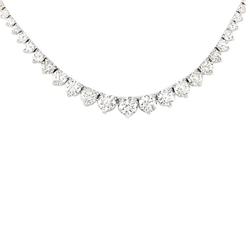 Tennis Necklace White Gold Diamond - 6.5 Carat Natural Diamond (F-G Color, VS1-VS2 Clarity) 14K White Gold Luxury Tennis Necklace for Women Exclusively Handcrafted in USA