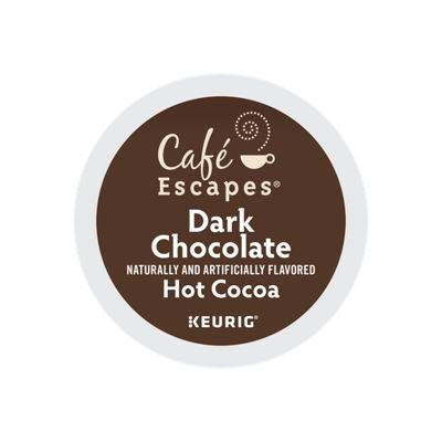Café Escapes Hot Cocoa, Dark Chocolate, K-Cup Portion Pack for Keurig Brewers, - Swiss Dark Organic Chocolate