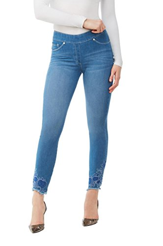 LUXE DENIM SLIMS Embroidered Crop Kick Skinny Jeans LTIndigoFLRLEMB ()