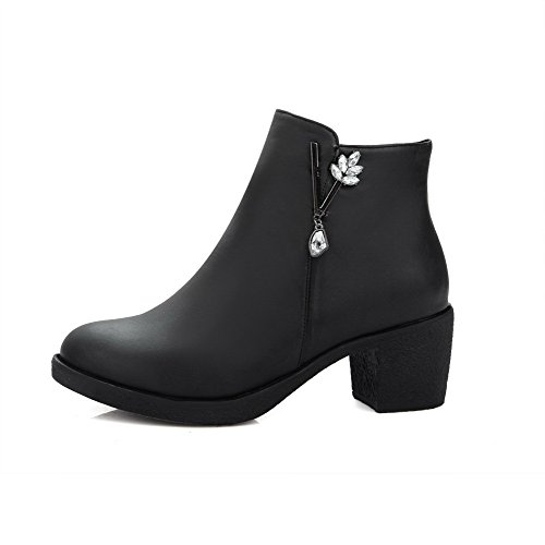 Boots top Women's Black Allhqfashion Zipper PU Heels Low Kitten Solid AB8qp0