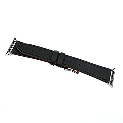 Apple Watch Band Leather - The classic design Genuine Leather Band Single Tour Bracelet Leather Watchband with Adapter for Apple iWatch Wollpo® (Leather, Single Tour Black 42mm)
