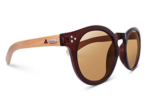 Treehut  Wooden Bamboo Sunglasses Temples Round Vintage Oversize Wood Sunglasses