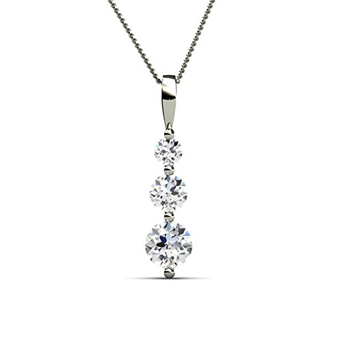 Cate & Chloe Willow Eternal 3 Stone Pendant Necklace, Women's 18k White Gold Plated Necklace with Swarovski Crystals, 3 Beautiful Sparkling Crystal Stones Silver Drop Necklace for Women