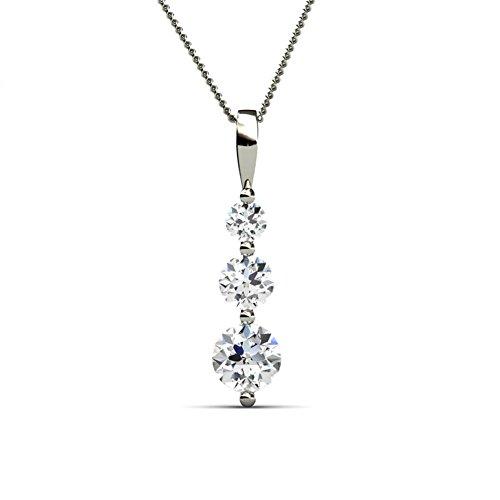 Cate & Chloe Willow Eternal 3 Stone Pendant Necklace, Women