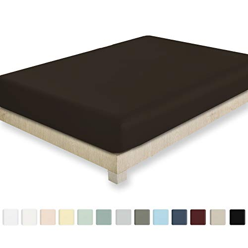 California Design Den 400 Thread Count 100% Cotton 1 Fitted Sheet Only, Long - Staple Combed Pure Natural Cotton Sheet, Soft & Silky Sateen Weave (Queen, Chocolate Brown)