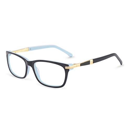 OCCI CHIARI Women Fashion Rectangular Optical Eyewear Frame With Clear Lenses(55mm,Black/Blue) (Gucci Spectacle Frame)