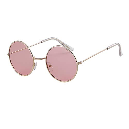 Round Retro Sunglasses Men Women Steampunk Style Circle Sun Glasses (Gold Frame/Pink Lens, 50)