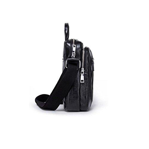 Cuero múltiples Paquete de de Cuero de de Cuero Black Mans Haixin Oblicua Bolso Cruz Funciones Bolso Solo Casual Moda XanOq