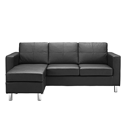 Modern Bonded Leather Sectional Sofa - Small Space Configurable Couch (Black)