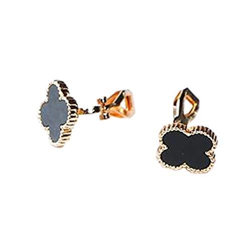 Enamel Cute Black Luck Clover Clip on Earrings Flower Leaf Non Pierced Prom Jewelry for Girls Women