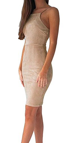 [Women Fitted Dresses, Spaghetti Strap Bodycon Mini Tank Dress Juniors Teens Beige 36] (Straps Neckline Mini)