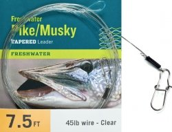 Musky Pike Leaders (RIO Fly Fishing Pike/Musky II 7.5' 20Lb Class 15Lb Stainless Wire with Snap Fishing Leaders, Clear)