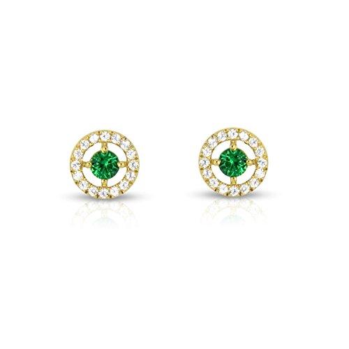Tousmesbijoux Boucles d'oreilles rondes en Or jaune 375/00 diamants et émeraudes