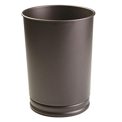 mDesign Decorative Round Metal Tall Trash Can Wastebasket, Garbage Container Bin for Bathrooms, Powder Rooms, Kitchens, Home Offices - Bronze