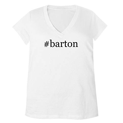 #Barton - Adult Bella + Canvas B6035 Women's V-Neck T-Shirt, White, Medium (Reed And Barton Beau Flatware)