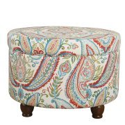 HomePop Storage Ottoman, Multicolored Paisley