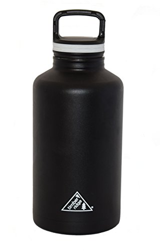 0.5 Gallon Beverage - 64 oz Stainless Steel Insulated Growler / Half Gallon Water Bottle - Vacuum Sealed Double Wall - Black - Wide Mouth with Caribiner Lid
