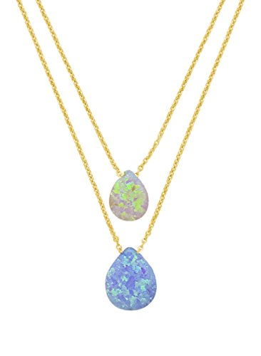 Sterling Forever-14K Gold Vermeil in 925 Sterling Silver Layered Strong Clasp Necklace with Dual Created Opal (Vermeil Pendant)