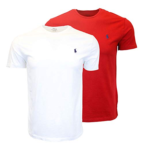 Polo Ralph Lauren Men's Crew-Neck T-Shirt Bundle (2pk) (XX-Large, White/Red)