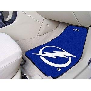 2 Piece NHL Lightning Car Mat Set Sports Car Floor Mats for Cars SUVs RVs Truck Van Carpet Rugs Team Logo Printed Universal Fit Durable Vinyl Backing Ice Hockey Fans - Lightning Set Tampa Bed Bay