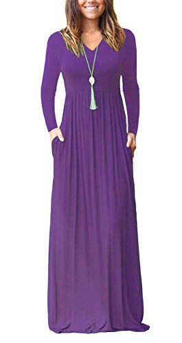 with Pockets Casual Purple Women's Maxi Short Fashion Scoop Dress Neck long Alickson Dresses Sleeve Sleeves Long qHBPC77wT