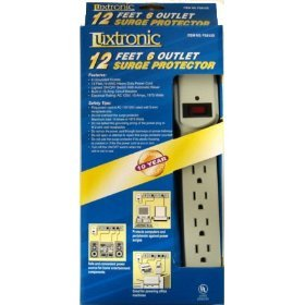 6-Outlet Power Strip Surge Protector with 12-Foot Power Extension Cord 90 Joules (Beige)